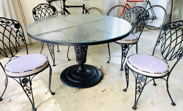Photo Patio Table and 4 Chairs - Iron w glass top. - $175 (Hickory NC)