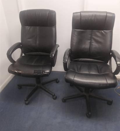 Photo Black Leather Desk Chair - $20 (Hilton Head)