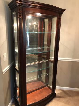 Photo Curio Cabinet with curved glass front - $200 (HHP)