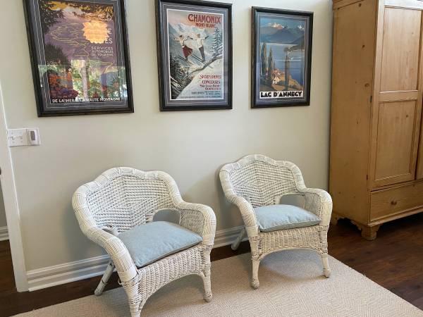 Photo Two White Wicker Chairs - $100 (Hilton Head Island)