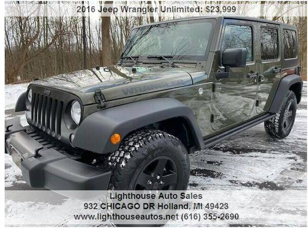 Photo 2016 JEEP WRANGLER 4X4 UNLIMITED BLACK BEARREMOVABLE HARD TOPSHARP - $23999 (Holland)
