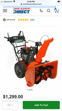 Photo Ariens Deluxe 921045 (24quot) 254cc Two-Stage Gas snow thrower - $925 (Holland)