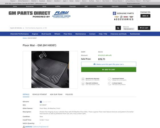 Photo Brand New Never Used 2020 Chevy Blazer All Weather Front Floor Mats - $45 (Ponchatoula)