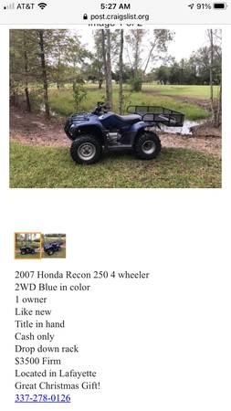 Photo Honda Recon - $3,500 (Lafayette)