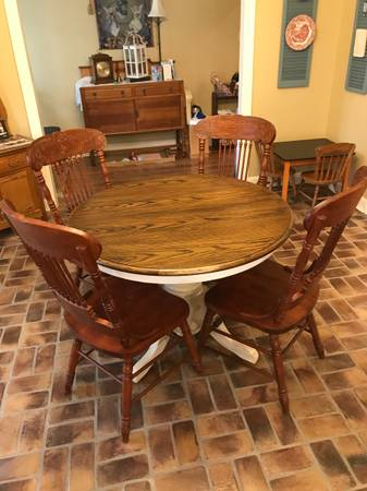 Photo Oak Dining Table with 4 Chairs - $295 (Lafayette)