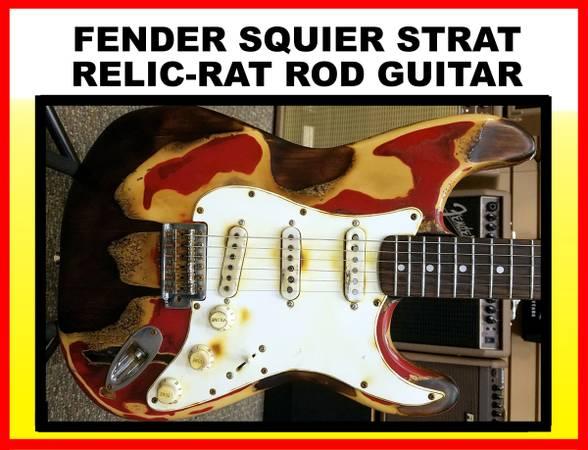 Photo Fender Squier Relic Rat Rod Custom Guitar - $400 (Houston)