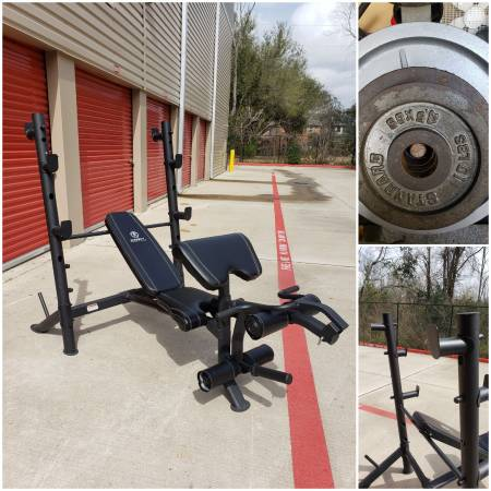Photo Squat Rack Bench Press w Weight Set. CAN DELIVER. PRICE FIRM - $300 (Hwy.6  Clay Rd)