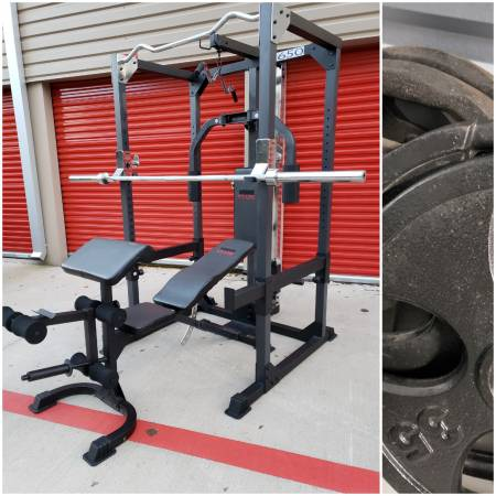 Photo Squat Rack Home Gym w Weights. CAN DELIVER. PRICE FIRM. READ POST. - $650 (Hwy.6  Clay Rd.)
