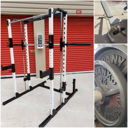 Photo Yukon Squat Rack Smith Machine w Hoist Bench  Weights. CAN DELIVER - $800 (Hwy.6  Clay Rd)