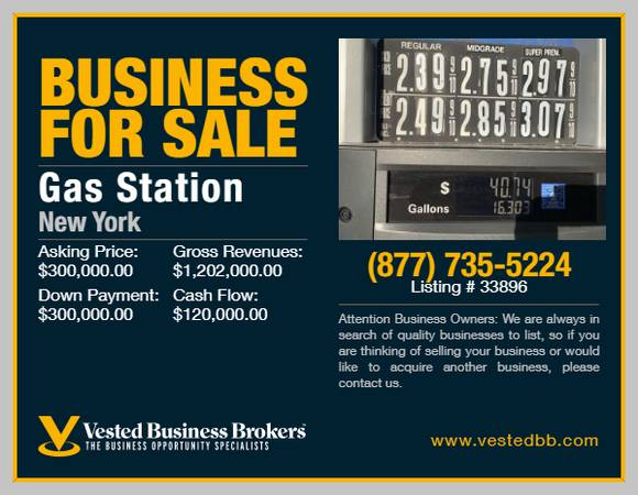 Photo Branded Gas Station wProperty for sale -33896 - $300,000 (Dutchess County, NY)