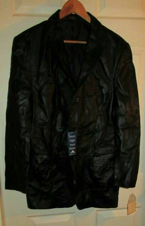 Photo New Stafford men sz S black soft leather trench coat jacket button up - $45 (Highland Falls)
