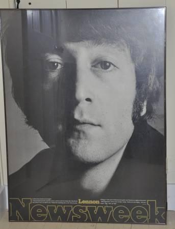 Photo Rare Unpublished John Lennon Newsweek Poster Framed - $500 (Millbrook - NY)