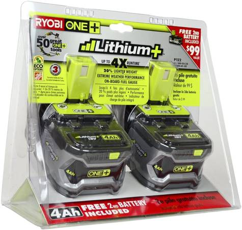 Photo Ryobi 18-Volt ONE Lithium-Ion 4.0 Ah High Capacity Battery (2-Pack) - $90 (pawling)