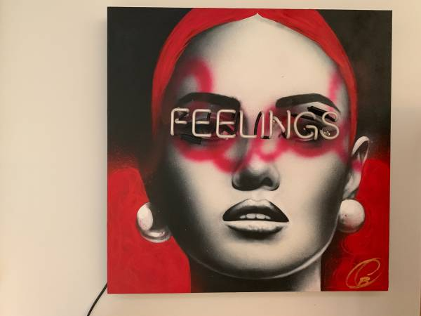 Photo Signed acrylic and neon painting, Feelings - $1,800 (Wappingers Falls)