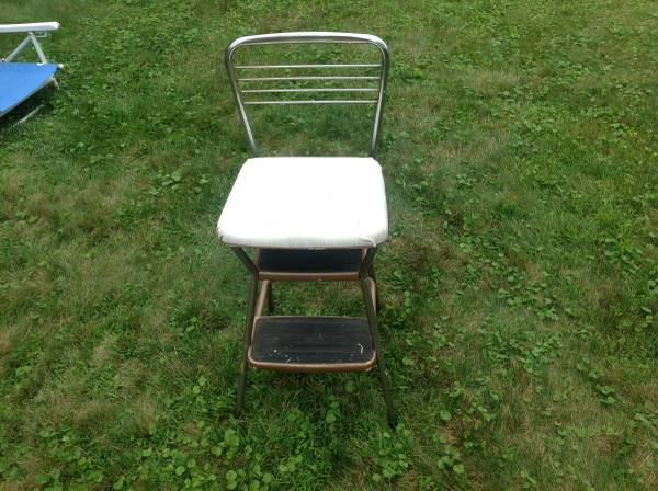 Photo Vintage Mid Century Modern Kitchen chrome metal steel chairstep stool - $100 (Rockland County)