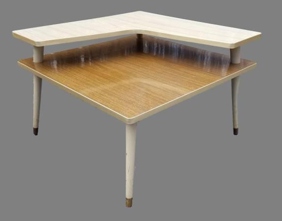 Photo Vintage Mid Century Two-Toned Laminate Step Corner Table - $59 (Bloomingburg)