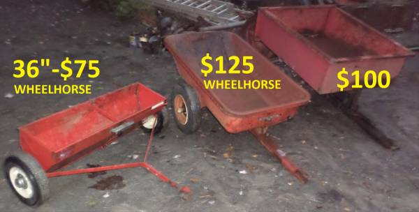 Photo WHEEL HORSE TRACTOR DUMP CARTS AND DROP SPREADERSEEDER (SAUGERTIES, NY)