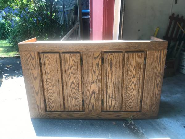 Photo 55 gallon wood fish tank stand and canopy top - $100 (Eureka)