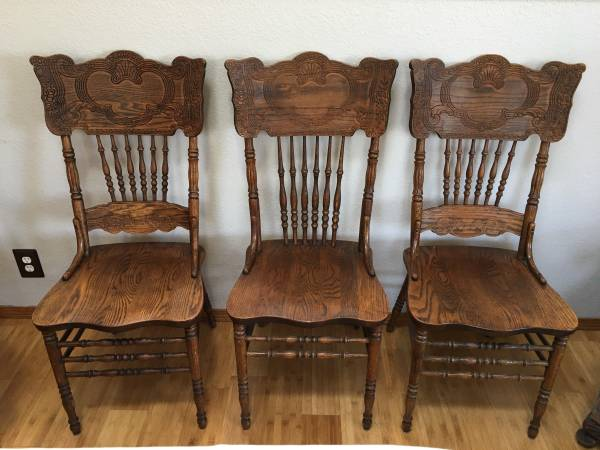 Photo Solid oak dining chairs 90 Each 3 available - $90 (Arcata near hospital)