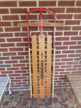 Photo 2 Fast Track Wooden Sleds With Metal Runners ( TORPEDO AND Snow Sport) - $75 (Huntington)