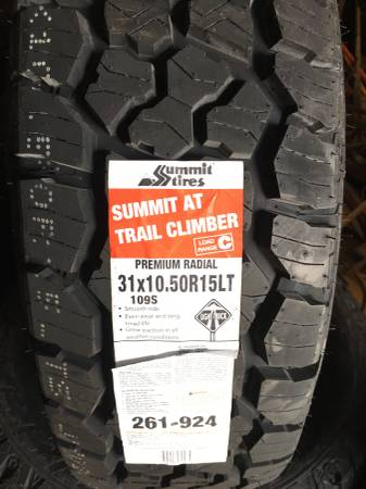 Photo 31x10.50R15 A.T. Truck Tires - $120 (Elkmont)