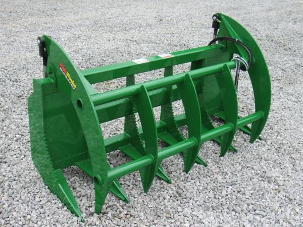 Photo 66quot Root Rake Clam Grapple Attachment Fits John Deere Tractor Loader - $1,149 (Huntsville, AL)