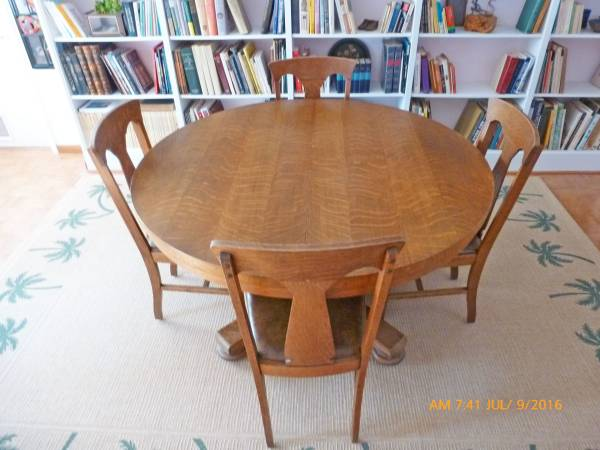 Photo REALLY NICE AND INTERESTING 54quot ARTS AND CRAFTS STYLE OAK PEDESTAL TA - $1,600 (honeycomb)