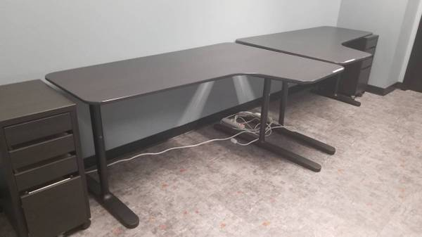 Photo 2 Ikea Black Bekant LShaped Corner Desks Adjustable Legs  Cable Mngt - $180 (Miramar)