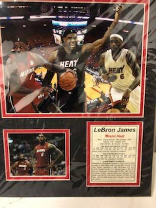 Photo Lebron James Miami Heat framed photo collage 11quot by 14quot - $5 (van nuys)