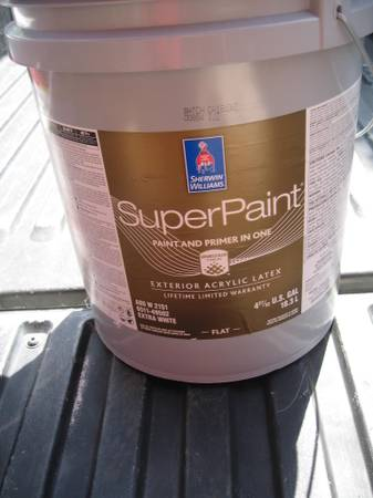 Photo Sherwin Williams Exterior Super Paint-5 Gallon-New-paintprimer in 1 - $145 (sdbay-ho)