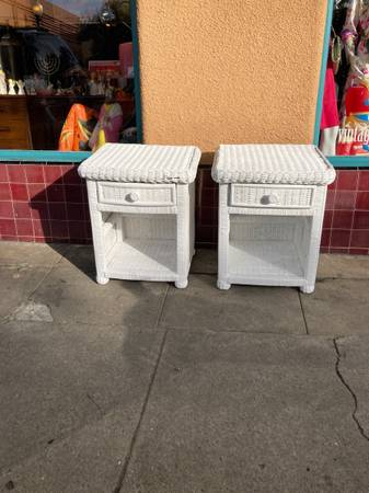 Photo White Wicker Retro Side Tables - $160 (San Diego)