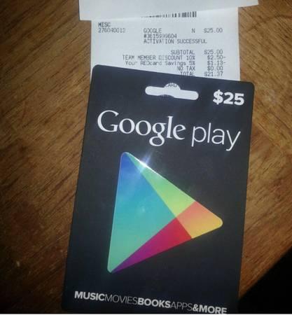 Photo 25$ Google play gift card (Beech Grove)