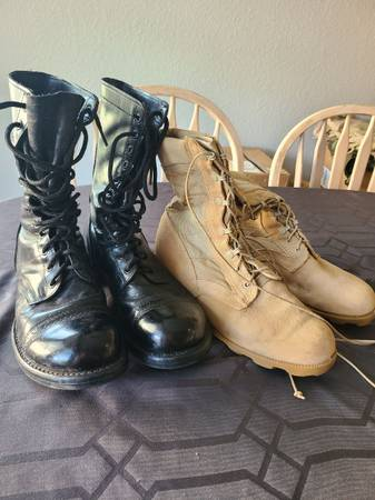 Photo Combat Boots, 2 Pair, Size 9 12, Corcoran Black Jump and Wellco Tan Desert - $40 (Fishers)