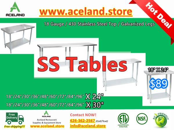 Photo Commercial Restaurant Equipment NSF Stainless Steel Work Tables - $89 (Free Shipping 100 New)
