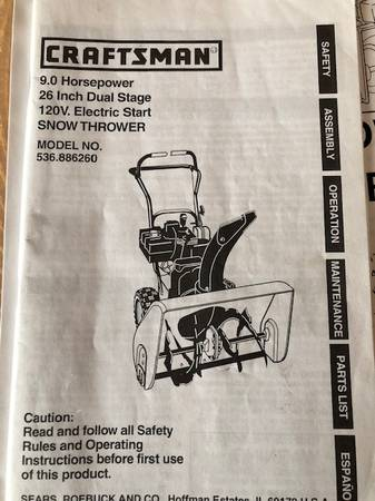 Photo Craftsman Snow Thrower With Blower Cab - $350 (Indianapolis, Indiana)