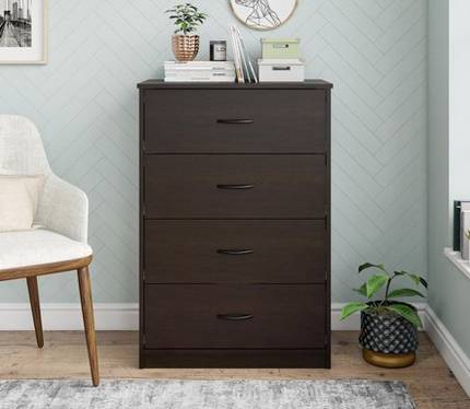 Photo Espresso brown Mainstay Emery 4 drawer dresser (rt $110) - $40 (Fishers)