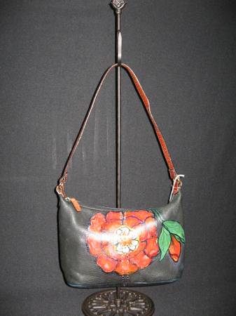 Photo Fossil Leather Bag  Purse Hand Painted and Signed - $30 (Greenwood)
