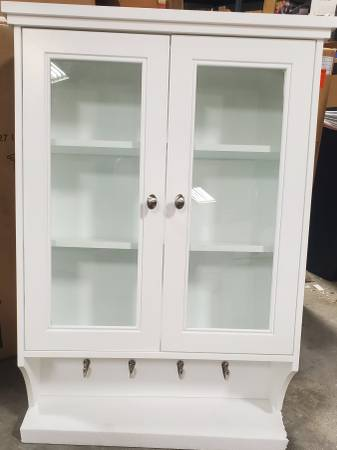 Photo Gazette 23 12 in. W Bathroom Wall Cabinet w Glass Doors (White) - $60 (Indianapolis)