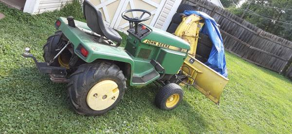 Photo John Deere 318 garden tractor with attachments. Package deal. - $1,500 (Southside indy)