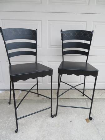 Photo PAIR OF TWO CAST IRON AND METAL BAR STOOLS - $55 (CARMEL)