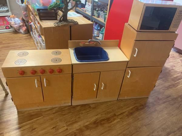 Photo Play kitchen for preschool classroom - $50 (Carmel)