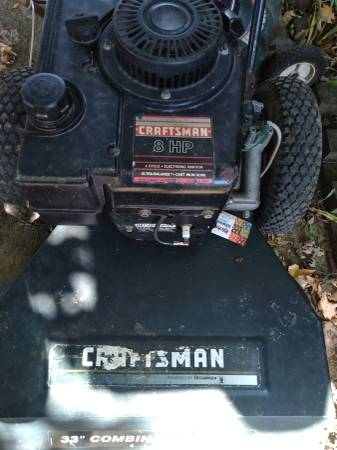 Photo Sears Craftsman 33 in walk-behind... does not run but turns over - $75