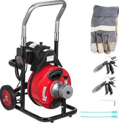 Photo Commercial 100Ft x 38Inch Drain Cleaner Machine fit 1 Inch (25mm) to 4 Inch(100 - $400 (Colton)
