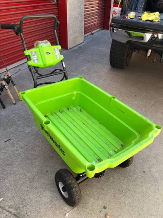 Photo Greenworks Powered Garden Cart Wagon with front unload - $280 (Highland)