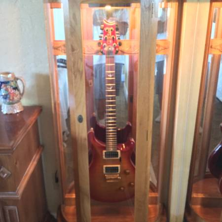 Photo Guitar Cabinet Round glass front wall-hanger - $325