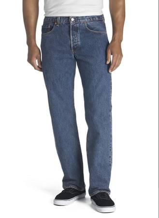 Photo Levis 501 Button Fly Mens Big And Tall 50x32 Dark Wash Denim Jeans New - $35 (Wildomar)