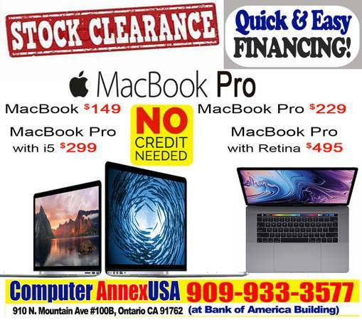 Photo MACBOOK PRO 15quot 13quot 12quot LOWEST PRICE IN TOWN click here as low as - $169 (NO CREDIT NEEDED FINANCING-Quick  Easy Approval- LOW PAYMT)