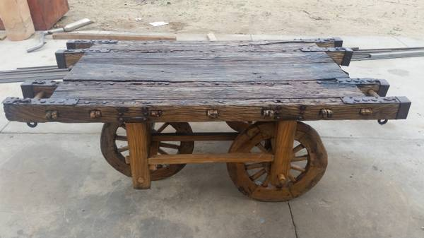 Photo PRIMITIVE 3 WHEELED CART OAK AND HAND FORGED METAL - $1,550 (Bloomington)