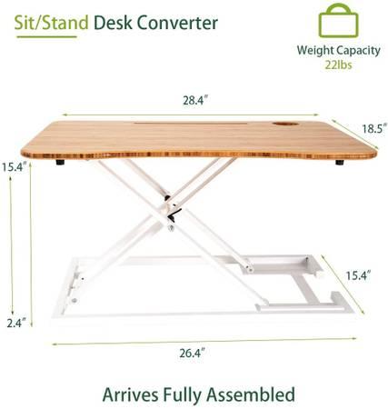 Photo Stand Up Desk Standing Desk Converter Workstation Riser Bamboo Laptop - $79 (Murrieta)