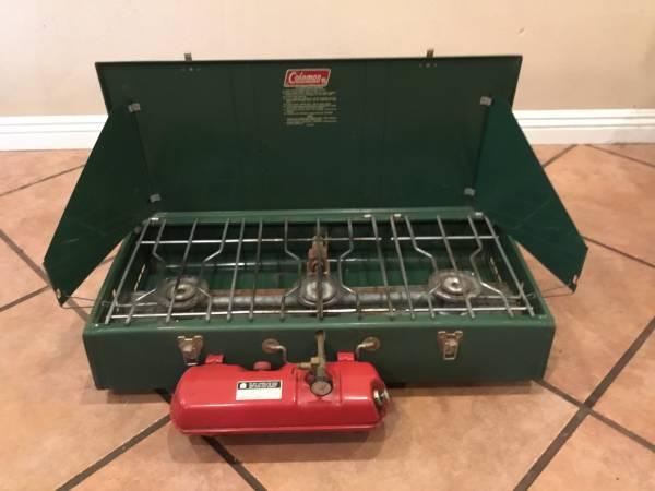 Photo Vintage Coleman 3 burner cing stove - $120